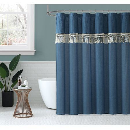 Peach Oak Fabric Shower Curtain Lydia Blue 80 Polyester