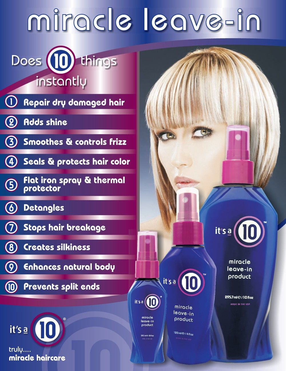 It S A 10 Miracle Leave In Product I Just Bought This From My Hairdresser Last Week This Stuff Is Amazi Stop Hair Breakage Damaged Hair 10 Hair Products