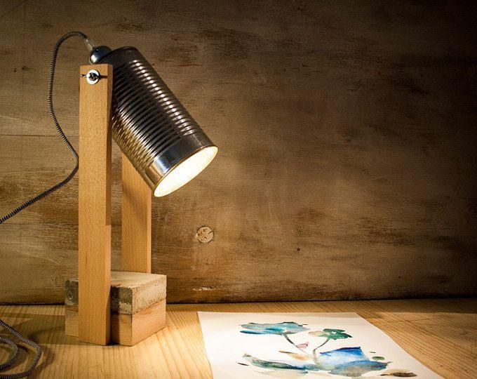Bateau de bois ciment lampe bureau lampe en bois lampe de table