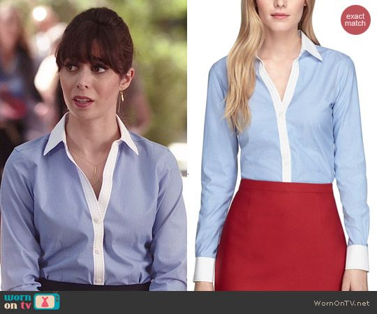 Zelda s blue striped shirt with white collar on A to Z. Outfit Details  http 39881fa7b