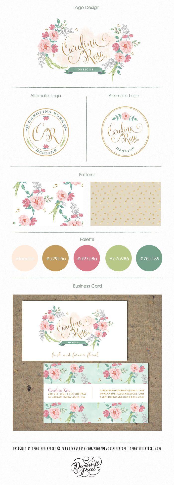 Hand painted flowers branding  Custom Bespoke Brand Package : https://www.etsy.com/listing/156334805/custom-brand-identity-package-custom