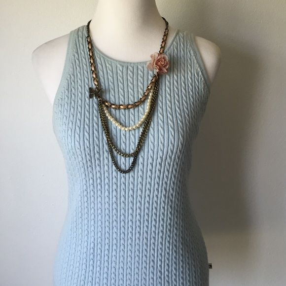 Tommy Hilfiger sweater Light blue lined sweater tank. Never worn perfect condition Tommy Hilfiger Tops
