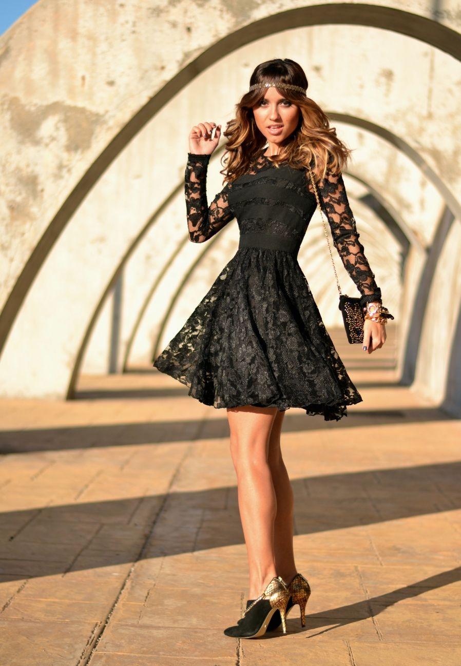 Black Lace Dress Outfit All Black Traje De Encaje