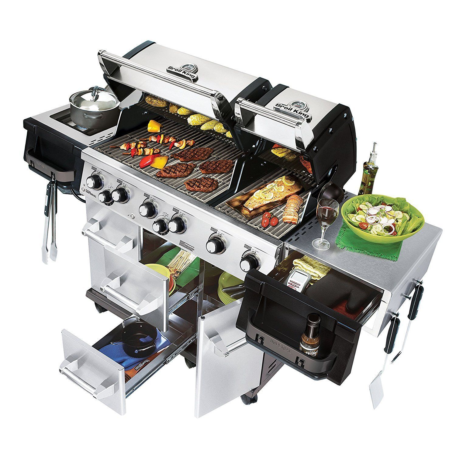 gas grill 6 burner stainless steel outdoor cooking barbecue patio
