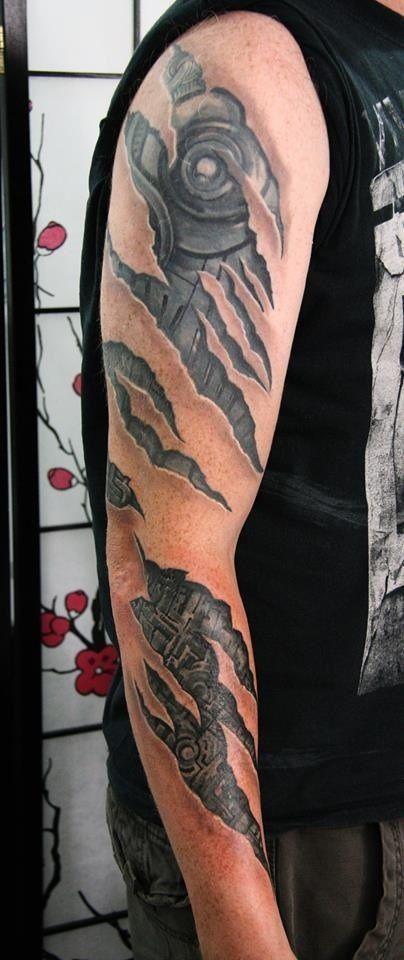 Torn Flesh Cyborg Arm Tattoo Biomechanical Tattoo Ripped Skin Tattoo Skin Tear Tattoo