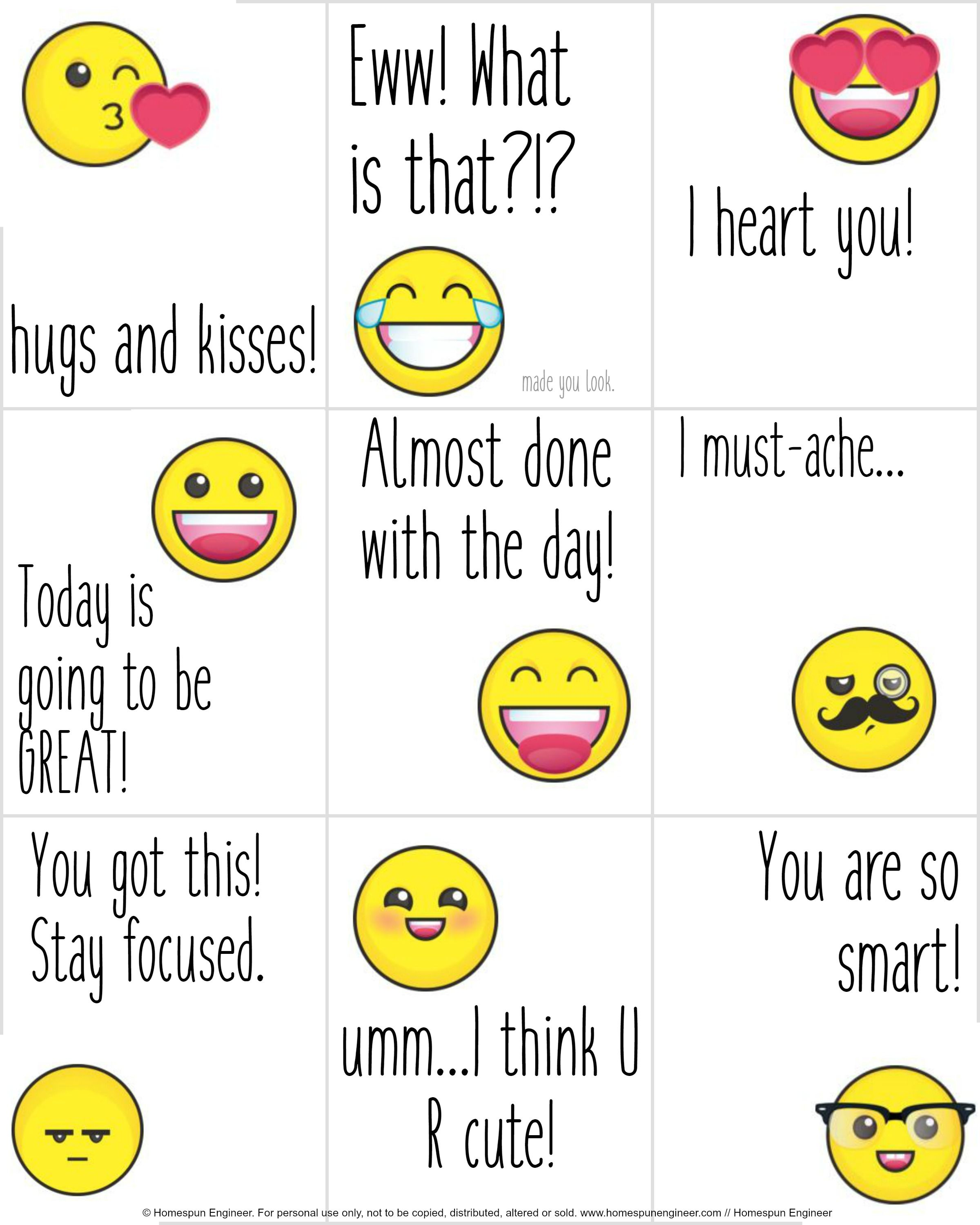 Emoji Lunchbox Notes Are A Free Printable That Is Great