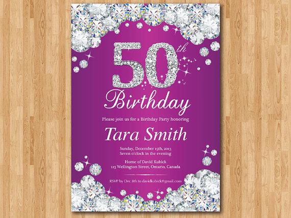 50th Birthday Invitation Women Purple Rhinestone Diamond Elegant Bday Invite Red Pink Teal