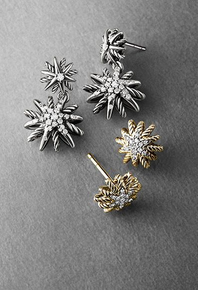 Starburst Extra-Small Earrings with Diamonds in Gold