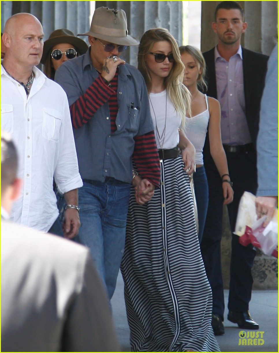 Johnny Depp Amber Heard Take His Kids Lily Rose And Jack To The