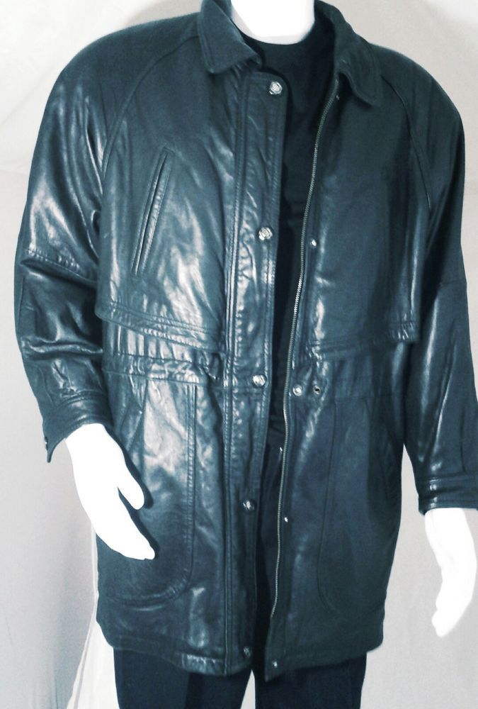 Men's Large Genuine Leather Jacket Zip & Button Closures   Clothing, Shoes & Accessories, Men's Clothing, Coats & Jackets   eBay!