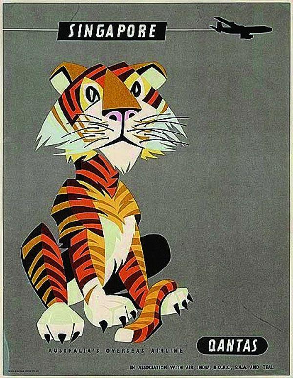 qantas poster to singapore qantas travel posters by william f