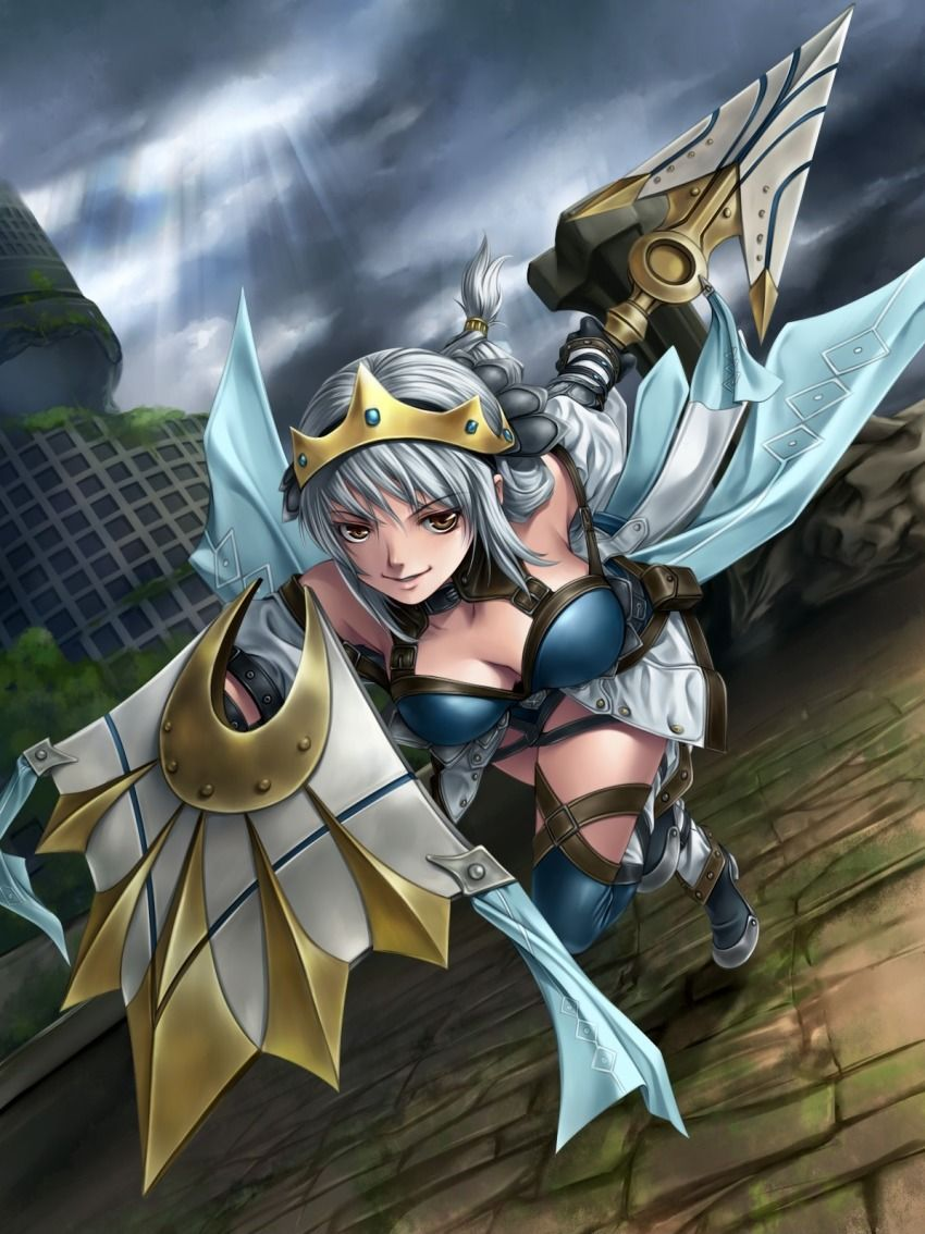 1girl armor highres monster_hunter solo weapon Monster