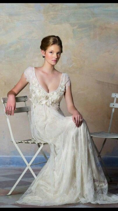 Empire waist, satin with lace overlay