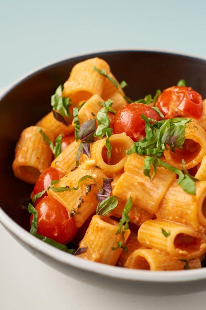 Pasta mit Kirschtomaten und Feta #vegetarischerezepteschnell