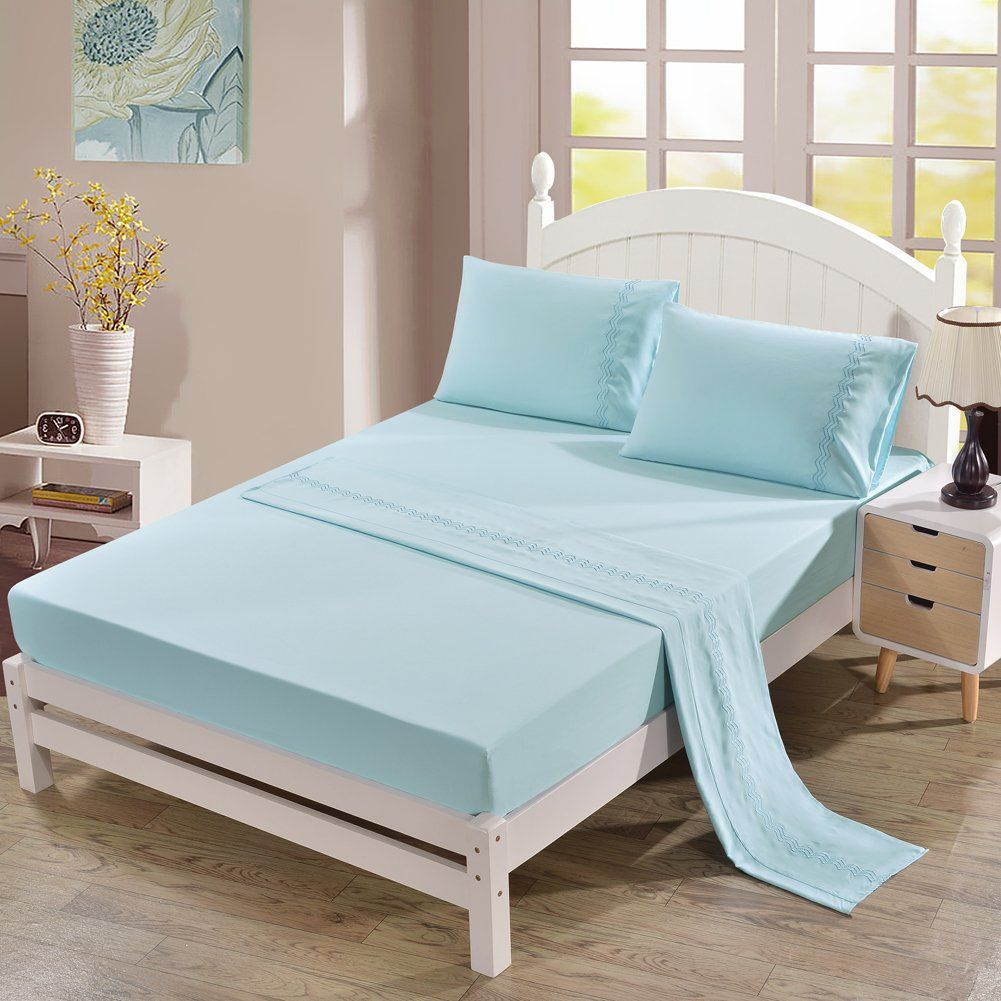 Hotel Quality Brushed Microfiber King Size Bed Sheet Set Aqua Blue 4