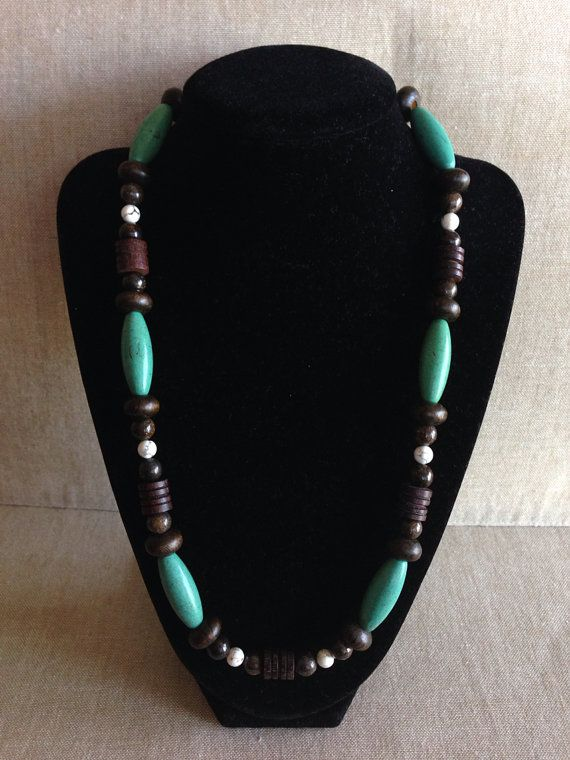Green and White Howlite with Wooden and Bronzite by RayrFindz, $20.00