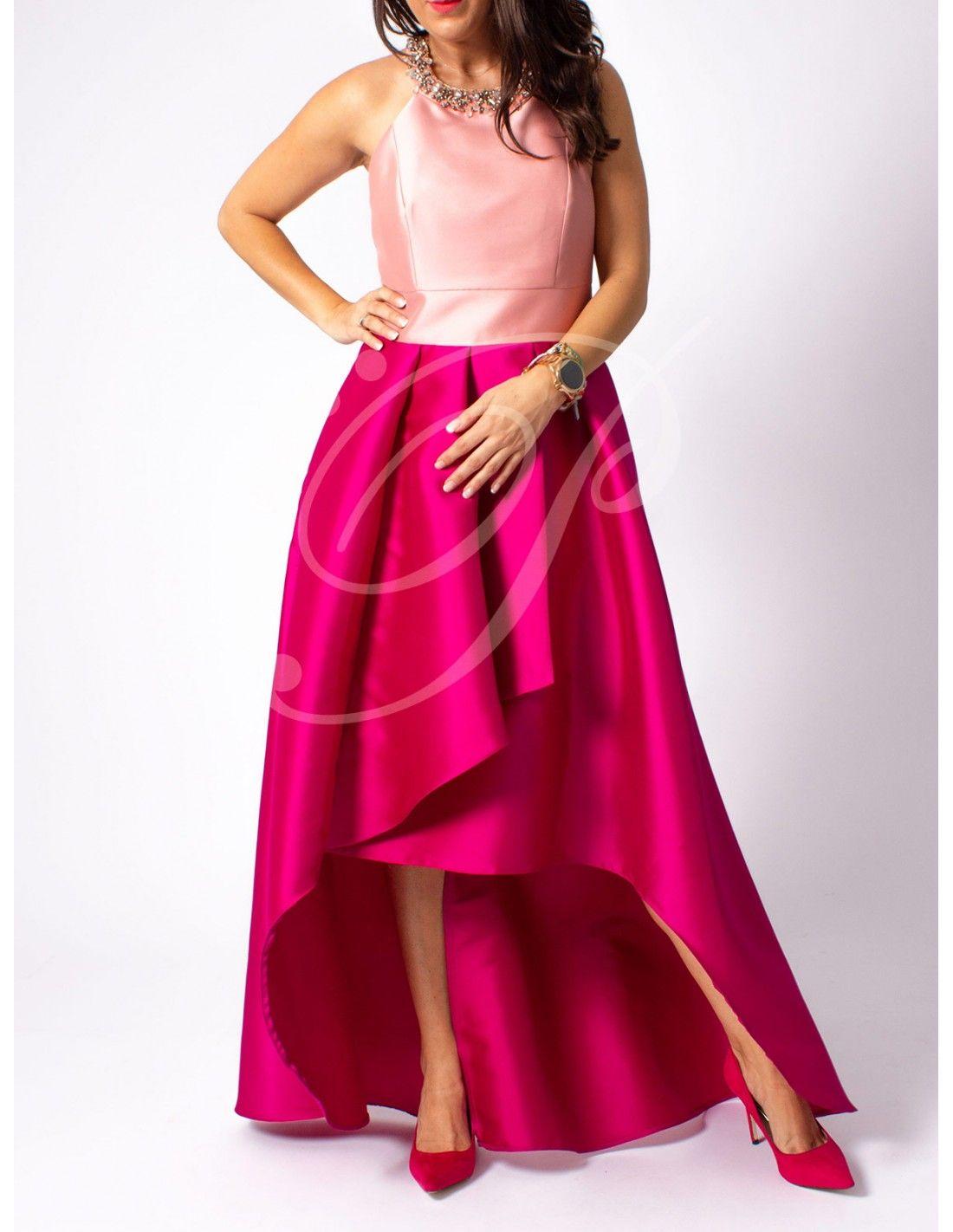 975a3ce339 Vestido Hirta - Vestido largo de corte asimétrico con cuerpo color rosa y  falda en color