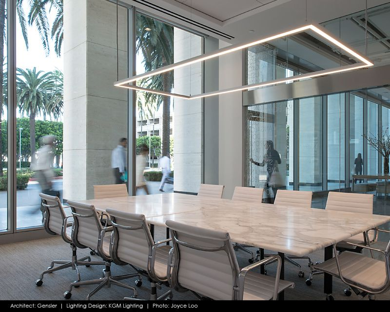Lighting fixture matches the elevator bay marbled conference table