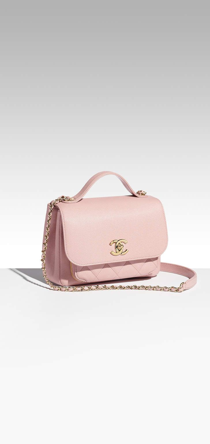 68e16522b807 Flap bag with top handle, grained calfskin & gold-tone metal-pink - CHANEL