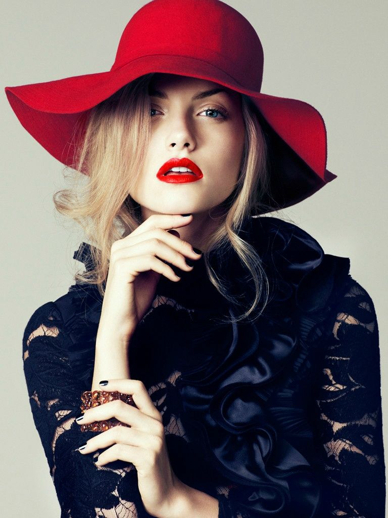Red Lips Red Hat 3 Fashion Photography Poses Iconic Red