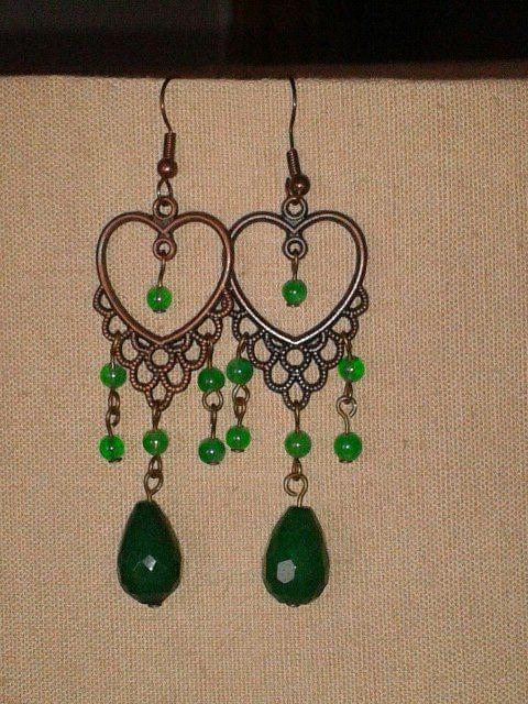 green earrings semiprecious stones