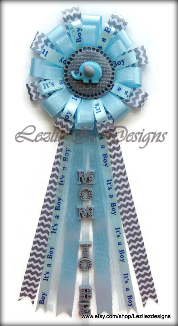 Elephant Baby Shower Corsage Boy Safari Pin   Jungle Mommy To Be Clay Favor  Badge   Lite Blue Gray/Grey Chevron Ribbon Grandma Capia Zoo Mum