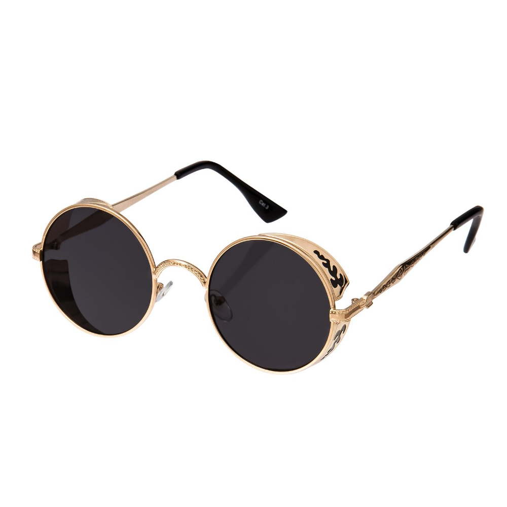 Gold With Black Engraving Steampunk Sunglasses Goggles Retro Etsy Steampunk Sunglasses Retro Sunglasses Round Sunglasses