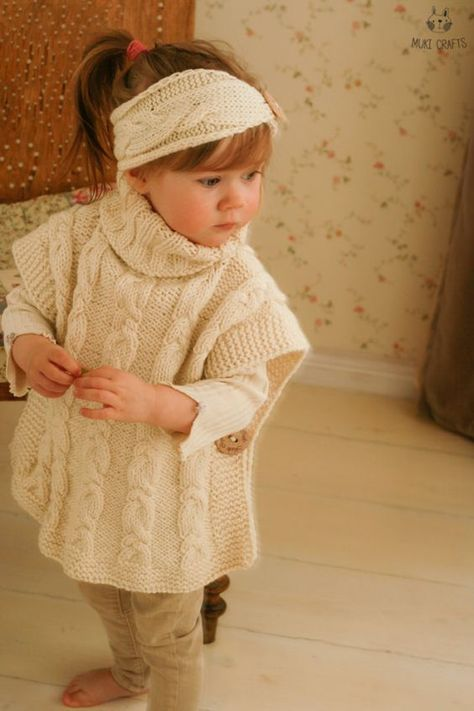 07da01c57118 KNITTING PATTERN cable poncho Robyn with a headband (toddler