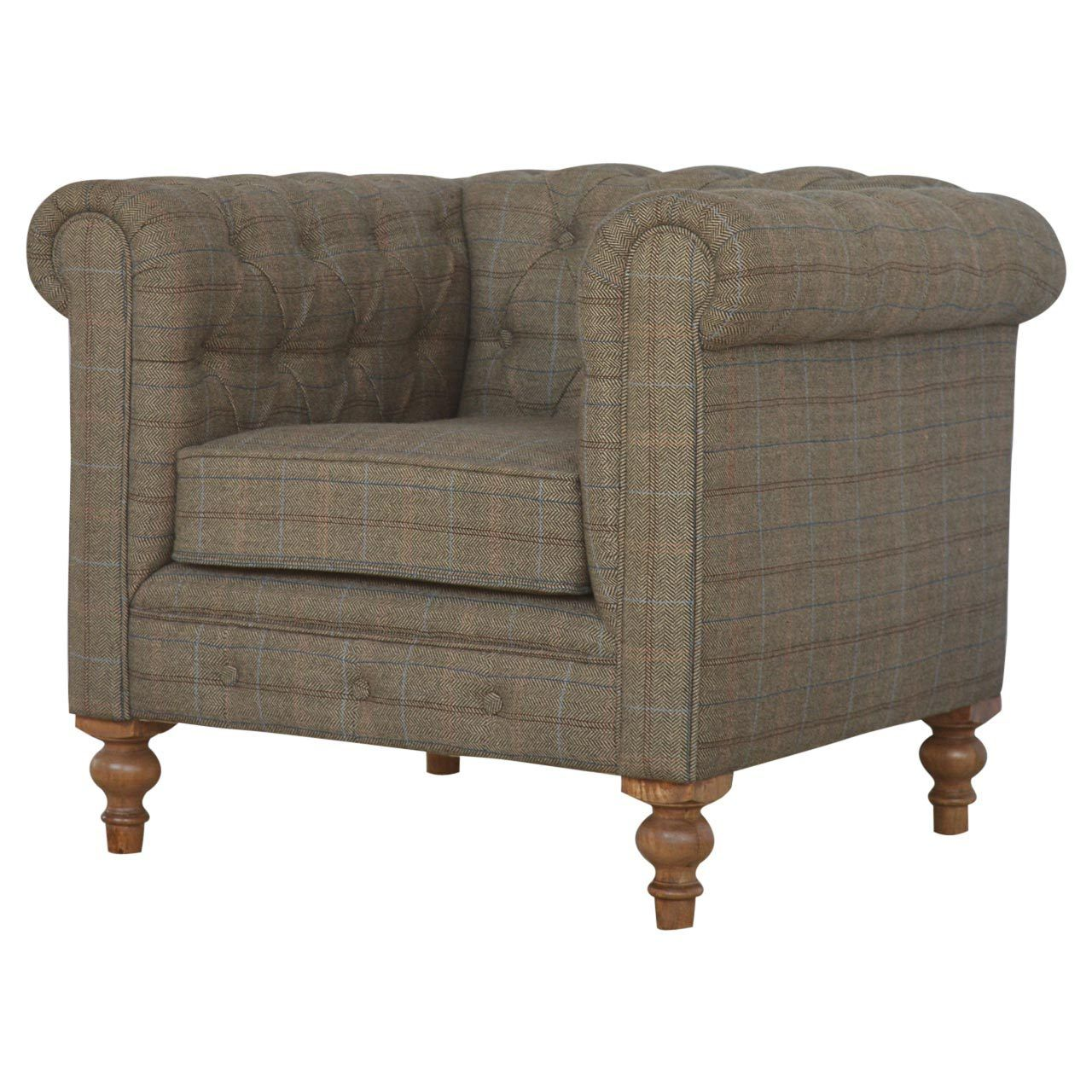 Artisan Chesterfield Single Seater Armchair   Tweed Upholstered U2013 Hickory  Furniture Co.