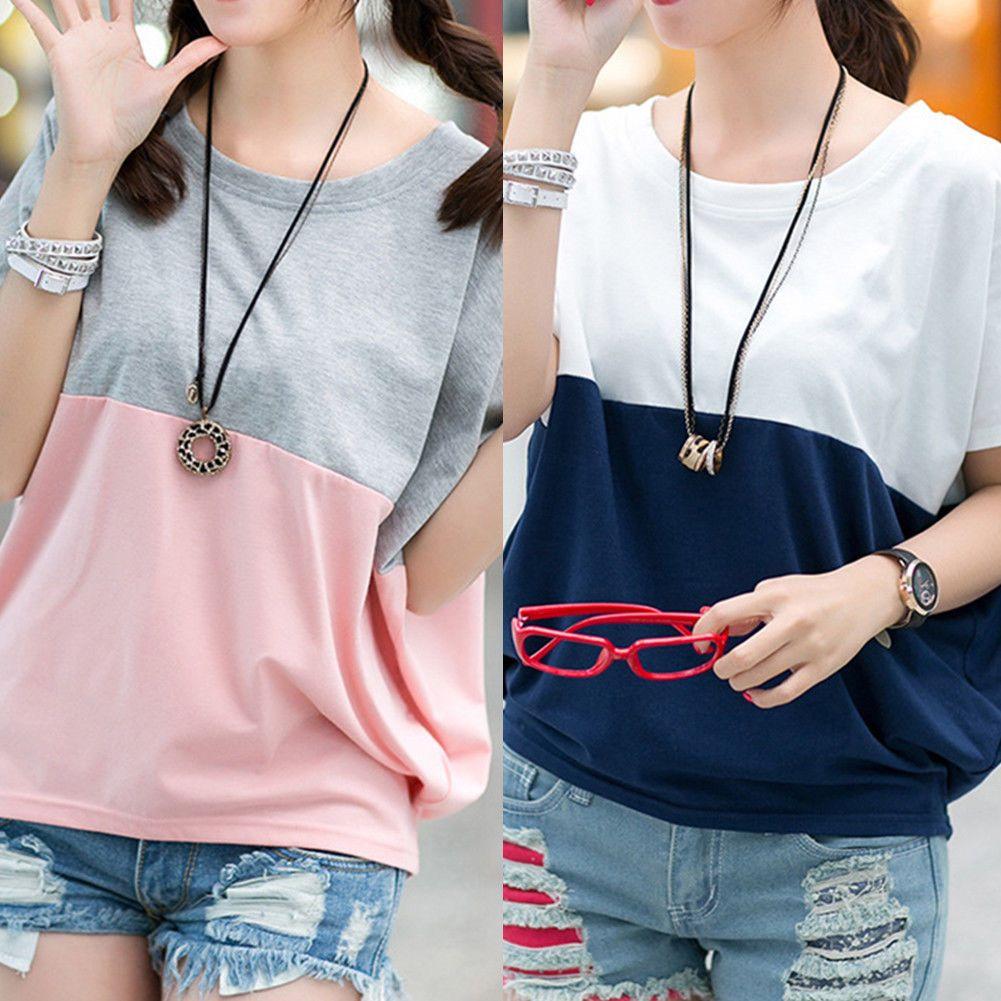 87a49d9740d57c Summer Womens Loose Casual Tee Short Sleeve Blouses Bat T-shirt Tops Fashion.  Women Crew Neck ...