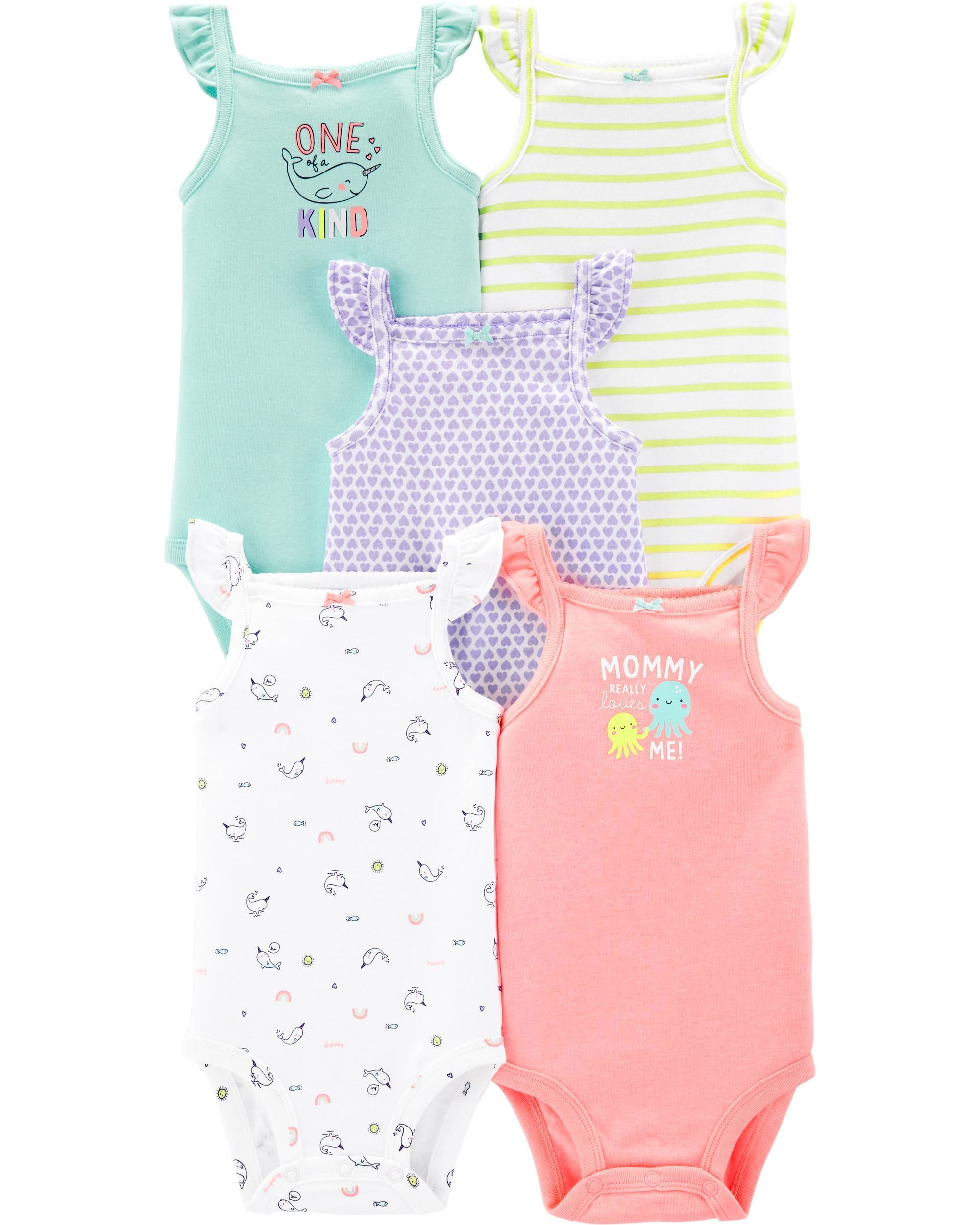 349bd872c 5-Pack Flutter Tank Bodysuits | Babies | Carters baby girl, Striped ...