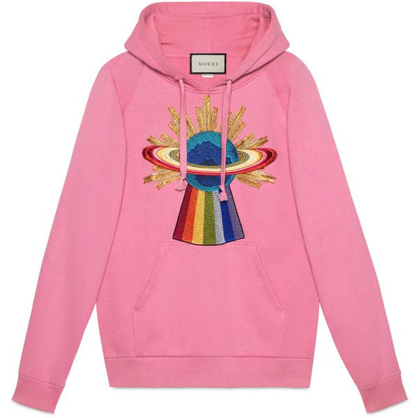 72330cd3e Gucci Embroidered Hooded Sweatshirt ($1,800) ❤ liked on Polyvore featuring  tops, hoodies, pink, pink top, pink hoodies, gucci hoodies, gucci and  hooded ...