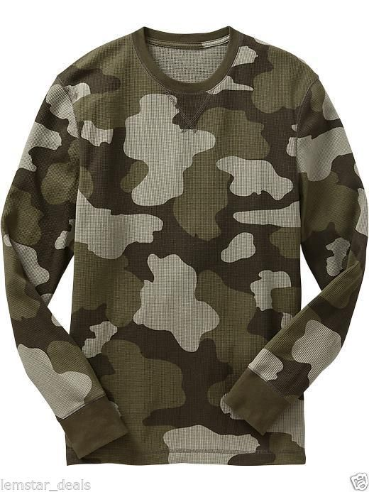 9a61f2214371e Old Navy Mens Green Camouflage Camo Waffle Knit Thermal Shirt Long Sleeve  NWT  OldNavy  ThermalWaffleKnit