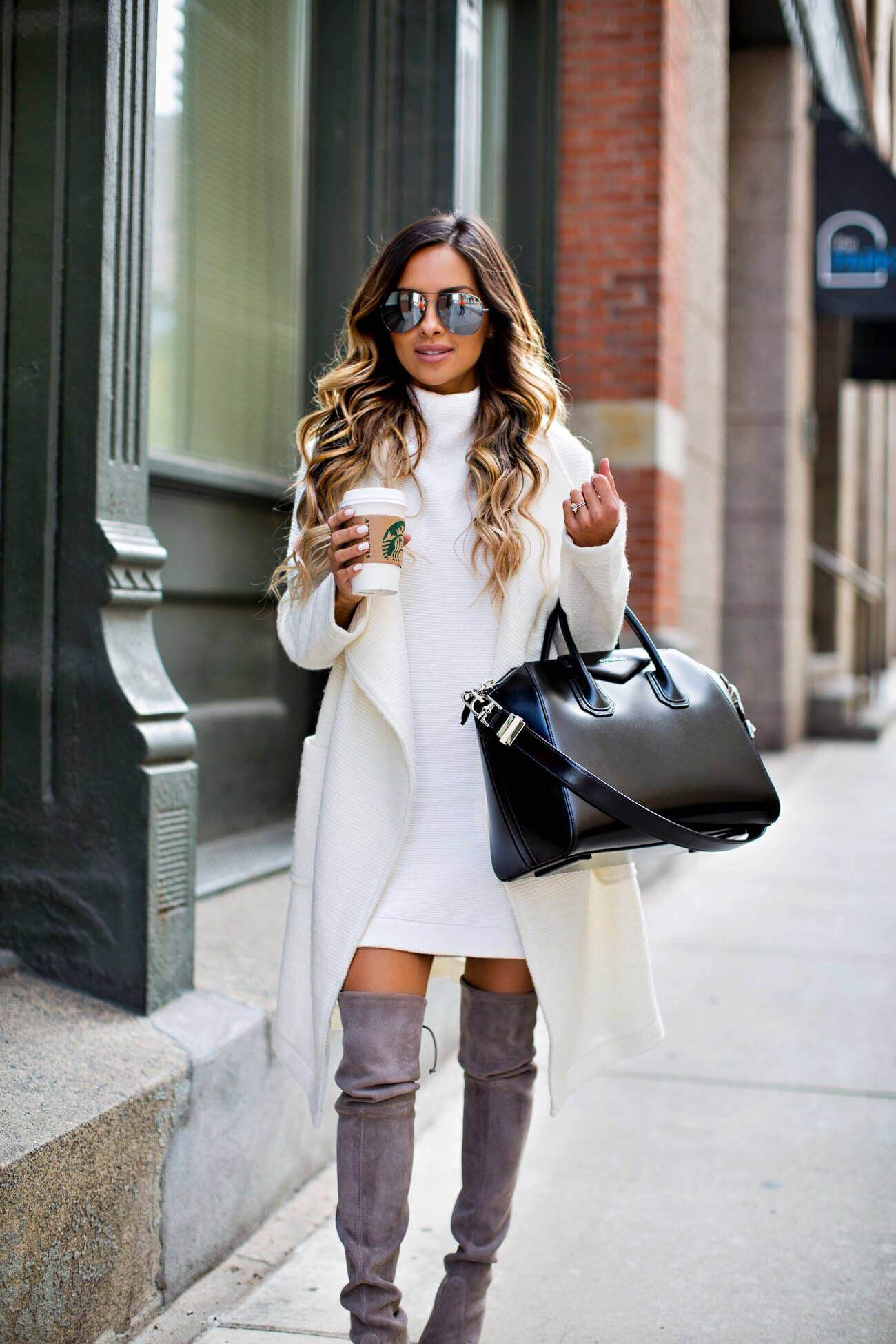 mia mia mine wearing a white sweater dress by free people and a ...