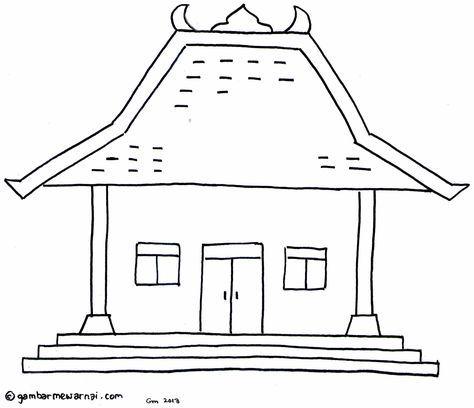 Gambar Mewarnai Rumah Adat Joglo Adalah Khas Rumah Adat Jawa Jawa Tengah Jawa