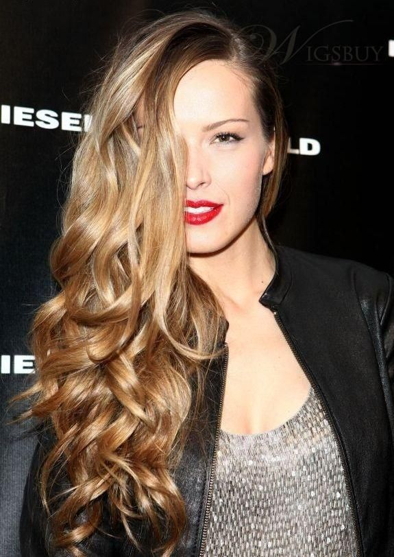 side swept curly perfection #celebrity #wigs
