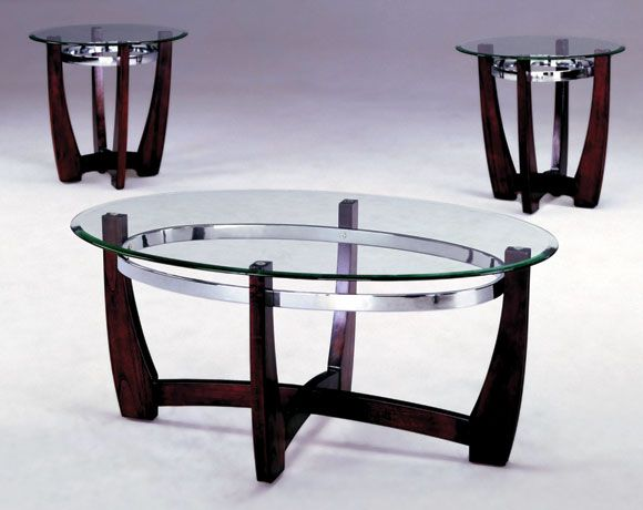 Mitchell 3Piece Glass Top Coffee and End Table Set Apartment
