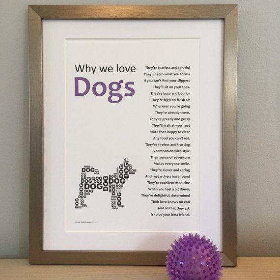 Framed poem for a dog-lover, ideal animal lover\'s gift, typographic ...
