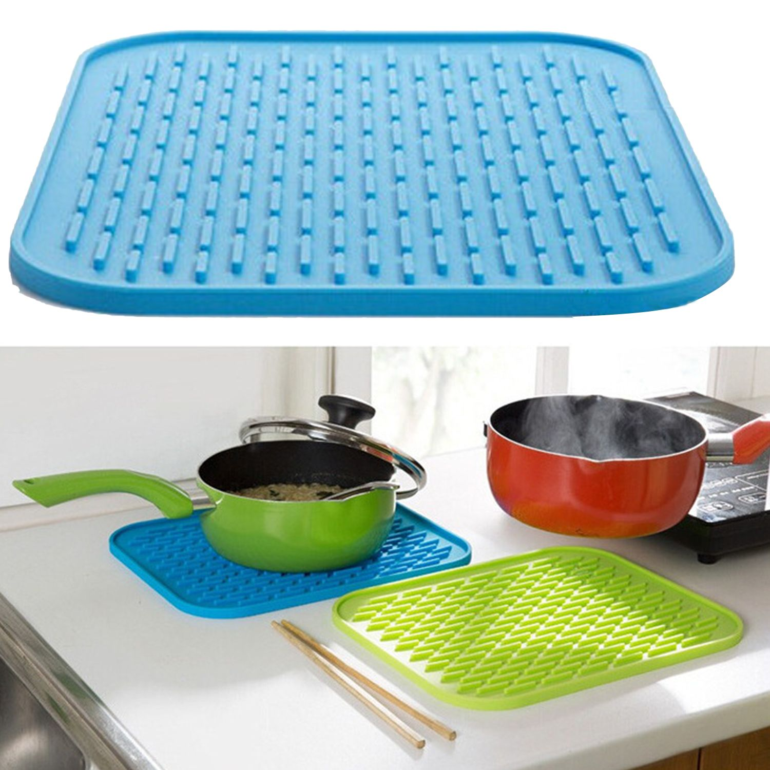 Multi-functional Flexible Silicone Heat Resistant Pad Pot Holder ...