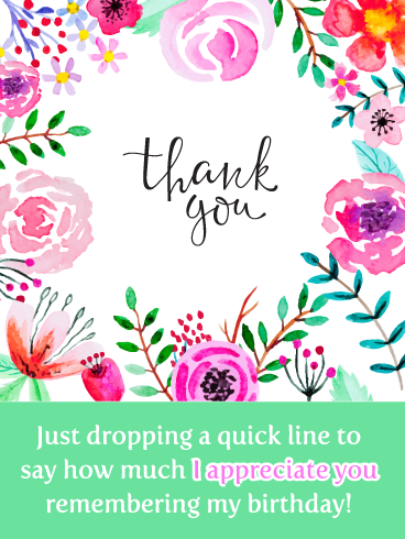 Floral Notes Thank You For The Birthday Wishes Card Birthday Greeting Cards By Davia Thank You For Birthday Wishes Birthday Greetings Birthday Wishes