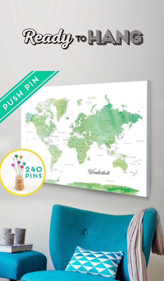 Custom push pin travel map canvas world map watercolor by macanaz custom push pin travel map canvas world map watercolor by macanaz gumiabroncs Choice Image