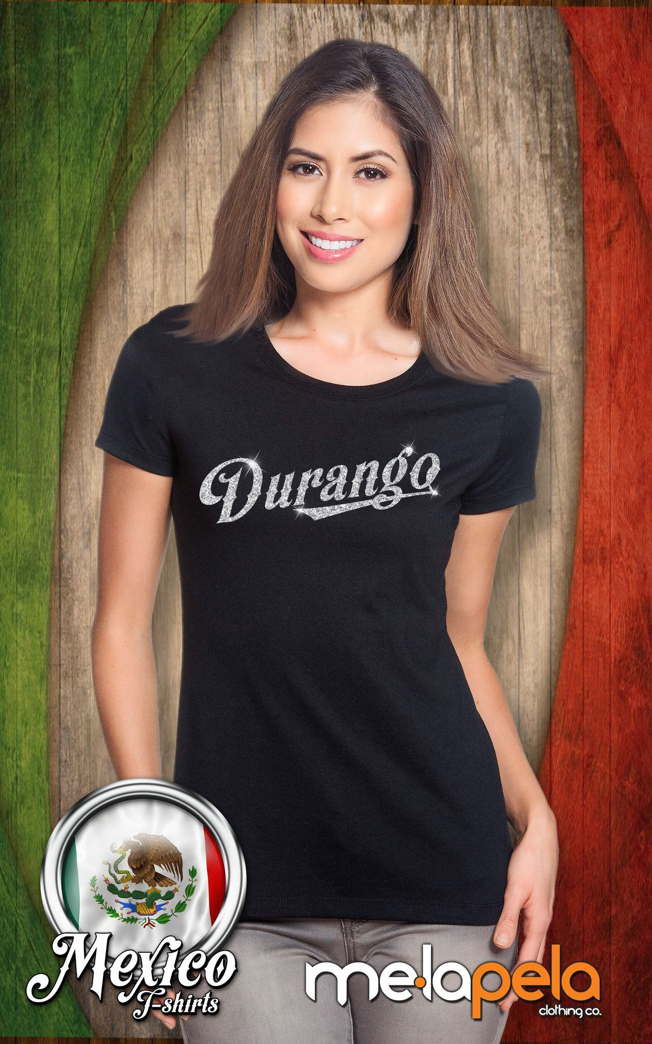 Durango, Mexico T-Shirt with Glitter Lettering - (Women Sizes)
