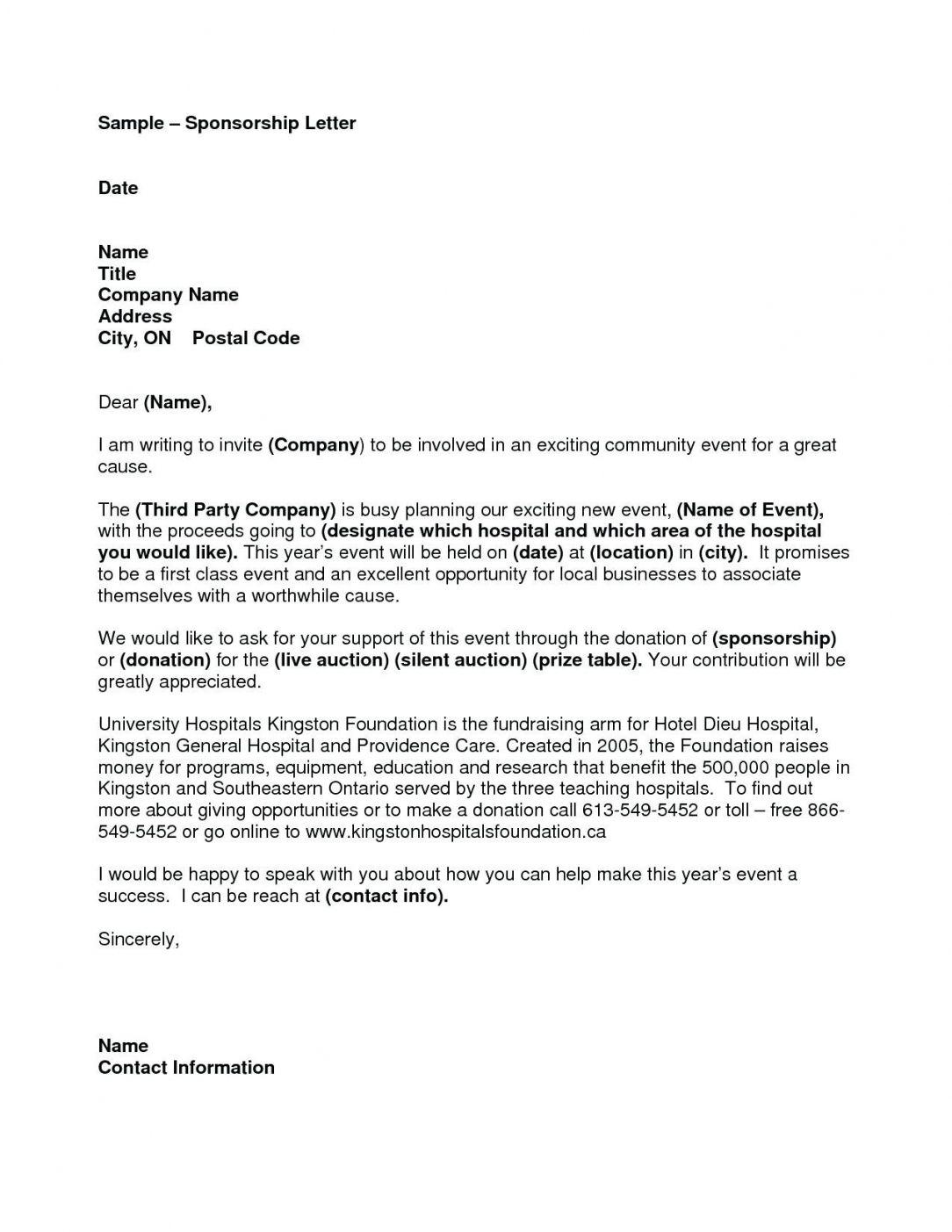 Sponsorship Letter For Sports Team