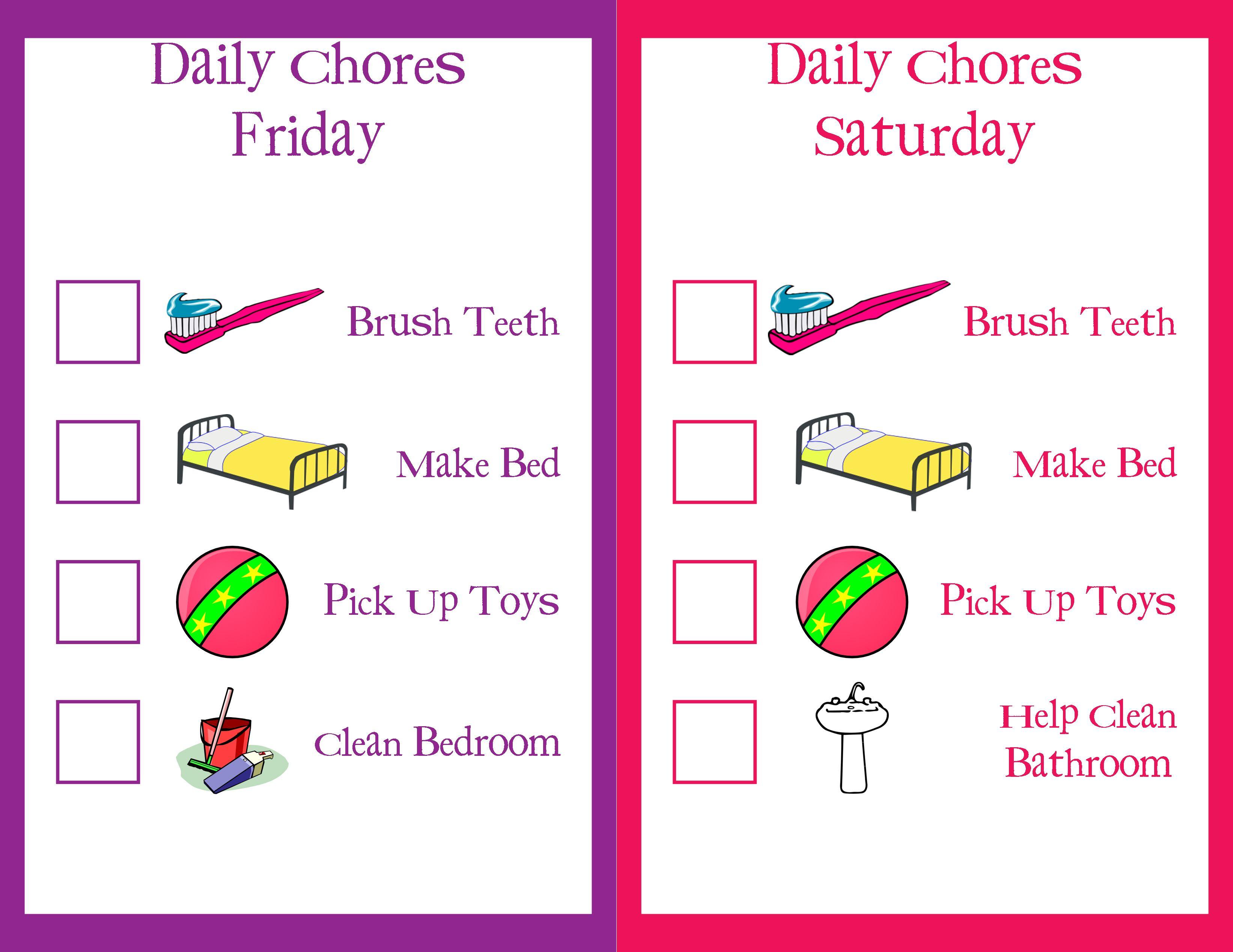 Toddler Chore Charts Friday Saturday