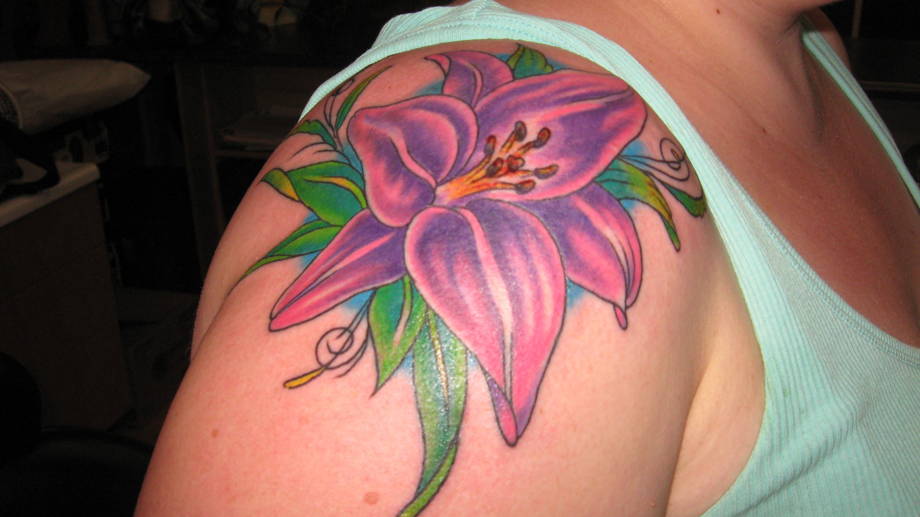 Pink Flower Tattoo: My Lilly Tattoo. Purple, Pink, Green, Lily, Flower