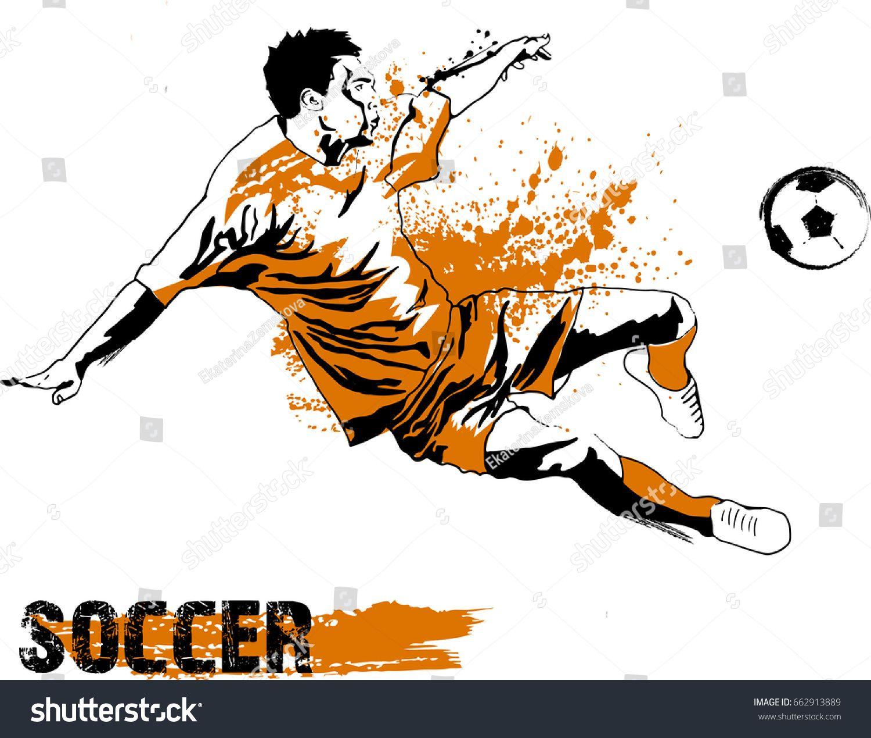 Soccer Player Kicking Ball Vector Illustration Ad Sponsored Kicking Player Soccer Illustration Abstract Design Abstract Poster