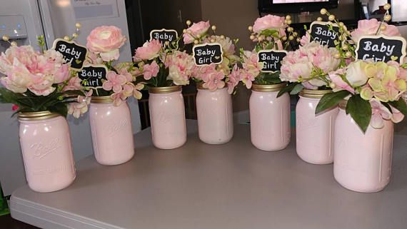 42 Girl Baby Shower Floral Centerpieces In Pink And Gold 14 Each Of