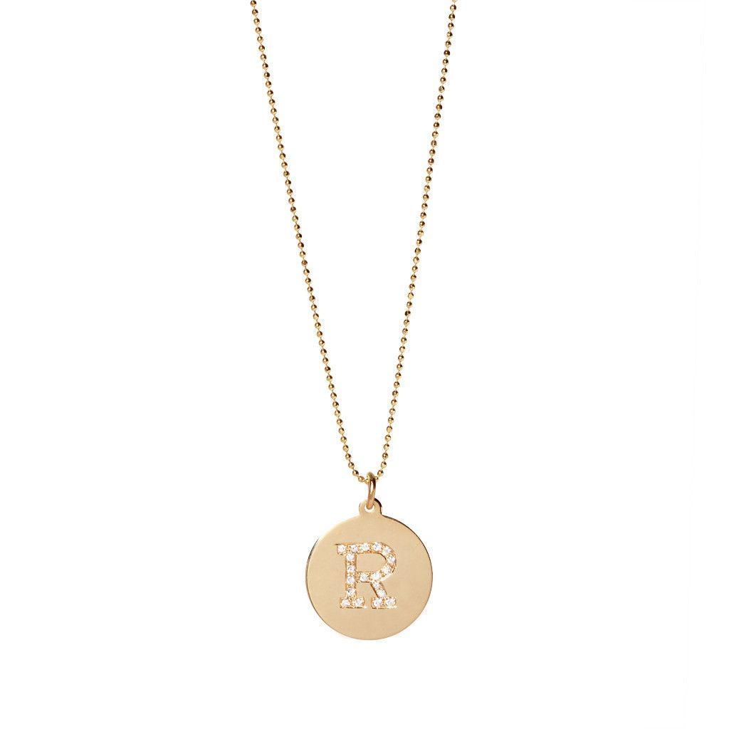 Zoë Chicco Pavé Diamond Initial Disc Pendant Necklace t0OKu73