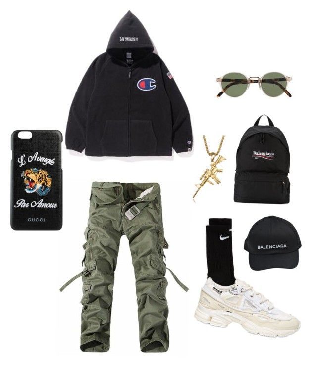 """""""✨"""" by pebeltre ❤ liked on Polyvore featuring Balenciaga, NIKE, adidas, Oliver Peoples, Gucci, men's fashion and menswear"""