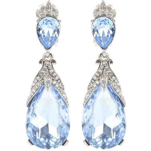 Oscar De La A Crystal Embellished Clip On Earrings 465 Liked Polyvore Featuring Jewelry Blue